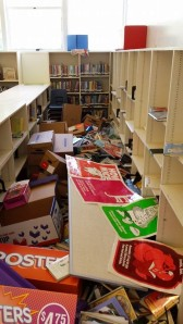 Librarians at Pueblo Vista School arrived to find this mess after the earthquake.
